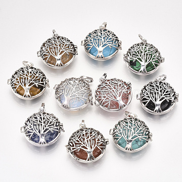 Alloy Cage Big Pendants, Hollow, with Natural/Synthetic Gemstone Beads, Flat Round with Tree, Antique Silver, 34.5x35x16mm, Hole: 8.5x3.5mm; Inner Diameter: 27.5mm; Bead: 24.5~25x5.5mm(G-S246-25)