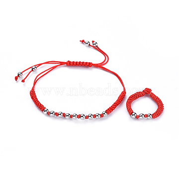 Adjustable Nylon Cord Braided Bead Bracelets and Rings Sets, with Eco-Friendly Brass Beads, Platinum, 1-1/8 inches~3 inches(2.8~7.7cm); Size 10, 19.5mm(SJEW-JS01029-03)