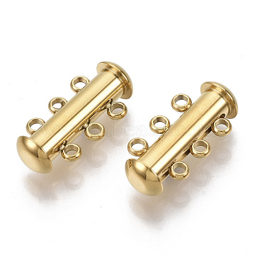 304 Stainless Steel Slide Lock Clasps, 3 Strands, 6 Holes, Tube, Golden, 20x10x6.5mm, Hole: 1.6mm(X-STAS-S079-158G)