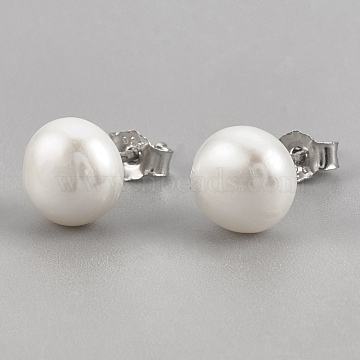Pearl Ball Stud Earrings, with Sterling Silver Pin, Carved 925, Platinum, Creamy White, 8.5~9mm(X-EJEW-Q701-01C)