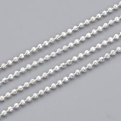 chaînes à billes en laiton soudé, avec bobine, facettes, plaqué argent, 1.2 mm(X-CHC-S008-004E-S)