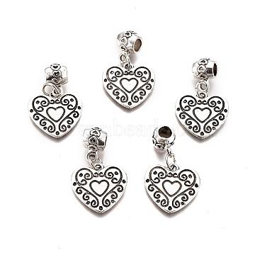 Tibetan Style Alloy European Dangle Beads, Large Hole Pendants, Heart, Antique Silver, 33mm, Hole: 5mm; Pendants: 18x19x2mm(PALLOY-E511-04A-AS-RS)