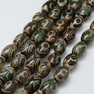 Tibetan Style 3-Eye dZi Beads Strands, Natural Agate Beads, Dyed & Heated, Barrel, DarkOliveGreen, 12x8mm, Hole: 2mm; about 30pcs/strand, 13.9inches(355mm)(TDZI-G010-A04)