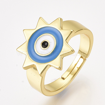 Adjustable Brass Finger Rings, with Enamel, Sun with Eye, DodgerBlue, Size 8, 18.5mm(RJEW-S044-057A)