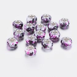 Perles européennes rondes avec grand trou en résine, avec des noyaux de laiton de ton argent, mediumorchid, 14x9mm, Trou: 5mm(RPDL-P003-A002)