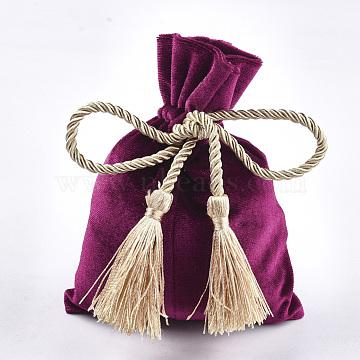 Sacs d'emballage en velours, avec corde en polyester 3 pli et pompon en polyester, mediumvioletred, 14.5~15x11~11.5 cm(ABAG-T008-01B)