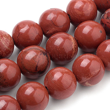 Natural Red Jasper Beads Strands, Round, 8mm, Hole: 1mm, about 50pcs/strand, 15.7 inches(X-G-S259-29-8mm)