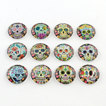Half Round/Dome Candy Skull Pattern Glass Flatback Cabochons for DIY Projects, Mixed Color, 12x4mm(X-GGLA-Q037-12mm-12)