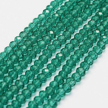 4mm DarkCyan Rondelle Glass Beads