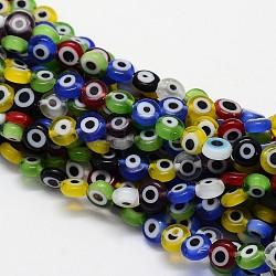 Main lampwork mauvais oeil perles rondes à plat, couleur mixte, 8x4mm, Trou: 1mm(X-LAMP-L058-8mm-M)