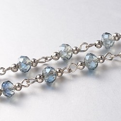 Trendy Handmade Faceted Rondelle Glass Beads Chains for Necklaces Bracelets Making, with Iron Spacer Beads and Iron Eye Pin, Unwelded, Platinum, Light Steel Blue, 39.3 inches, about 60pcs/strand(X-AJEW-JB00123-03)