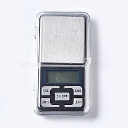 Outil de bijoux, mini balance de poche électronique numérique en acier inoxydable, avec du plastique, rectangle, couleur inoxydable, 122x63x20mm(TOOL-TAC0003-01)