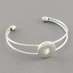 Латунь манжеты браслеты компоненты для оснастки материалы кнопки, серебряные, 64 мм; плоские круглые: 19 мм(MAK-S001-SZ017S)