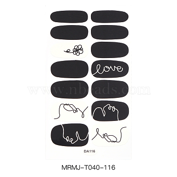Full Cover Nail Art Stickers, Self-adhesive, For Nail Tips Decorations, Colorful, 10x5.5cm(MRMJ-T040-116)