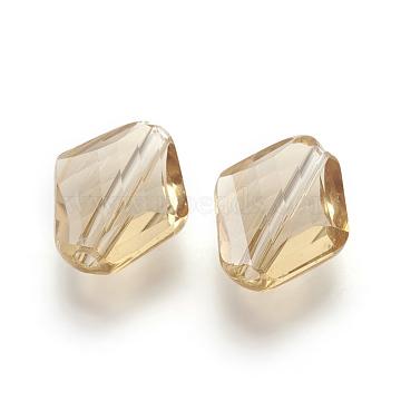 14mm Tan Rhombus Glass Beads