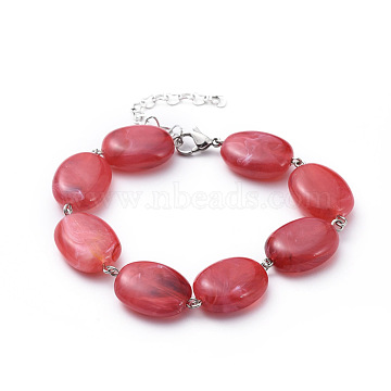 Acrylic Imitation Gemstone Beads Bracelets, with Iron Eye Pin, 304 Stainless Steel Heart Link Extender Chains and Lobster Claw Clasp, Oval, Cerise, 7-5/8 inches(19.5cm)(BJEW-JB04683-01)