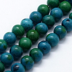 "Perles synthétiques chrysocolla brins, rond, 4mm, trou: 0.6mm; environ 95 pcs/chapelet, 14.76"" (37.5 cm)(G-I199-34-4mm)"