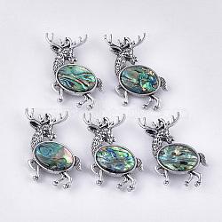 Broche / pendentifs en coquille d'ormeau / paua, avec fond en résine et alliage, renne de Noël / cerf, argent antique, 50.5x52.5x11.5 mm, trou: 9x5 mm; broches: 0.7 mm(RESI-S376-18)
