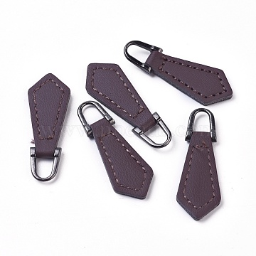 PU Leather Zipper Puller, Garment Accessories, with Alloy Findings, Rhombus, Gunmetal, Coconut Brown, 38~40x13x3mm, Hole: 5x7mm(FIND-WH0044-03)