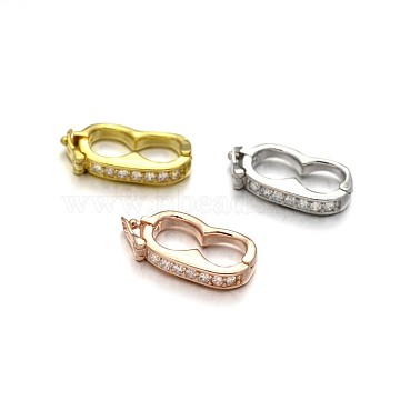 Rack Plating Brass Micro Pave Cubic Zirconia Twister Clasps, Lead Free & Cadmium Free, Mixed Color, 19x9.5x3mm(ZIRC-I012-16-RS)