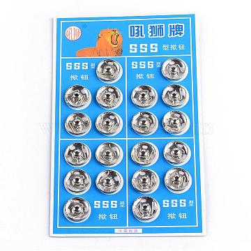 Iron Sewing Snap Button, Press Studs, Garment Buttons, Flat Round, Platinum, 12x4mm, Hole: 2x1mm; 20sets/card, 8cards/box(SNAP-R028-12mm-02P-B)