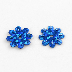 Accessoires ornement de perles de paillette fleurs en plastique, perles de paillettes, bleu, 12~14x1 mm, trou: 1 mm(X-PVC-Q034-D30)