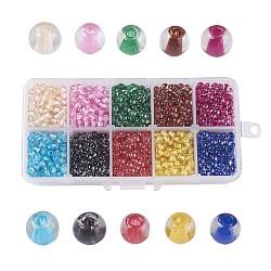 10 couleurs vaporisées perles de verre peintes, centre teint, rond, couleur mixte, 4mm, trou: 1.1~1.3mm; environ 205~210 pcs / comparent, environ 2050~2100 pcs / boîte(DGLA-JP0001-20-4mm)