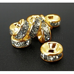 Iron Rhinestone Spacer Beads, Grade B, Straight Edge, Rondelle, Golden Color, Clear, Size: about 6mm in diameter, 3mm thick, hole: 1.5mm(X-RB-A009-6MM-G)