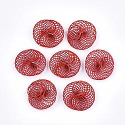 Perles de fil de fer environnementales peintes par pulvérisation, plat rond, rouge, 28~30x25~28x9mm(IFIN-T009-04D)