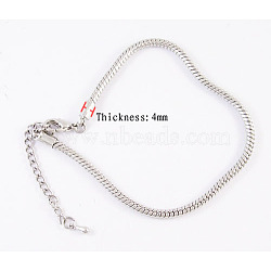 Brass European Style Necklaces with Brass Lobster Claw Clasp, Platinum Color, about 3mm thick, 45cm long, the Adjustable Iron Chain: 6.5cm(X-PPJ002Y)