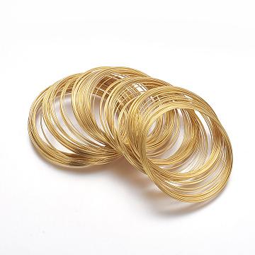 Steel Memory Wire, Bracelets Making, Nickel Free, Golden, 5.5CM, Wire: 0.6mm(22 Gauge); about 100circles/set(X-MW5.5CM-NFG)