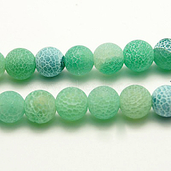 Natural Crackle Agate Beads Strands, Dyed, Round, Grade A, Green, 6mm, Hole: 1mm; about 63pcs/strand, 15.5