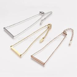 Bracelets de cheville en 304 acier inoxydable, Avec des crochets de homard et des chaînes d'allongement de fer, bar, couleur mixte, 195mm(AJEW-K009-14)