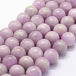 perles de kunzite naturel brins, AAA grade, arrondir, 10 mm, trou: 1 mm; environ 37 perle / brin, 15.5(G-K285-01-10mm)