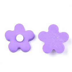 Cabochons en pâte polymère manuels, fleur, violette, 24x24x8.5mm(CLAY-S091-17E)