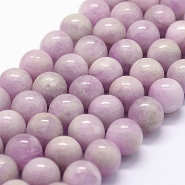 Natural Kunzite Beads Strands, Spodumene Beads, Grade AAA, Round, 10mm, Hole: 1mm; about 37pcs/strand, 15.5inches(G-K285-01-10mm)