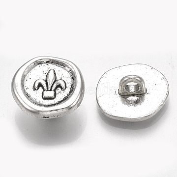 Tibetan Style Alloy Shank Buttons, Cadmium Free & Lead Free, Flat Round with Fleur De Lis, Antique Silver, 14x14.5~15x6.5mm, Hole: 2.5mm; about 598pcs/1000g(TIBE-31215-059AS-RS)