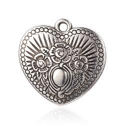 Пластмассовые подвески ccb, Сердце со цветками , античное серебро, 31x31x7 мм, отверстие : 2.5 мм(CCB-P004-40AS)