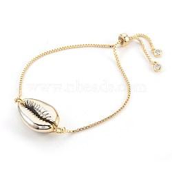 """Bracelets bolo réglables en laiton, Bracelets coulissants, avec des perles de coquille galvanisées, cauris, or, 9"""" (23 cm), 1.3mm(BJEW-JB03956-02)"""