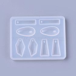 Moules en silicone pendant, moules de résine, pour la résine UV, fabrication de bijoux en résine époxy, larme & rectangle & trapèze & polygone, blanc, 53x68x7 mm; diamètre intérieur: 5~19x10~23 mm(DIY-L014-17)
