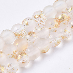 Frosted Spray Painted Glass Beads Strands, with Golden Foil, Round, PapayaWhip, 4~5mm, Hole: 0.9~1.2mm, about 95~103pcs/Strand, 13.78 inches~14.88 inches(35~37.8cm)(X-GLAA-N035-03A-C10)
