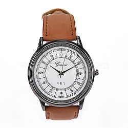 Наручные часы головы сплава часы, с ПУ кожа ремень часов, верблюжие, 250x22x4 мм; голова часов : 48.5x43x10 мм; лицо часов : 38 мм(WACH-D045-15)