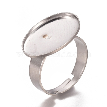 Adjustable 304 Stainless Steel Finger Rings Components, Pad Ring Base Findings, Oval, Stainless Steel Color, Size 7, 17mm; Tray: 18.5x13.5mm(X-STAS-I137-10P)