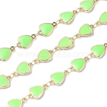 Handmade Alloy Enamel Heart Link Chains, with Spool, Soldered, Long-Lasting Plated, Lead Free & Cadmium Free, Golden, Light Green, 12x8.5x2mm(ENAM-F138-02A-01-RS)