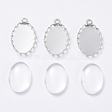 DIY Pendant Making, with Brass Pendant Cabochon Settings and Transparent Oval Glass Cabochon, Platinum, Cabochon Setting: 23x14mm, Glass: 18x13x4~5mm(DIY-X0293-19P)