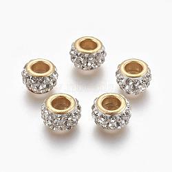 Perles européennes artisanales en pâte de polymère, Perles avec un grand trou   , avec ame en laiton, plat rond, or, blanc, 11.5x7mm, Trou: 5mm(CLAY-O002-01G-E)