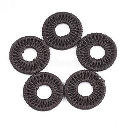 подвески из полиэстера, с железом выводы, плоские круглые, coconutbrown, 31~32x3 mm(FIND-T039-16C)