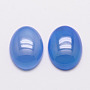 Natural Agate Cabochons, Grade A, Dyed, Oval, Cornflower Blue, 40x30x7mm