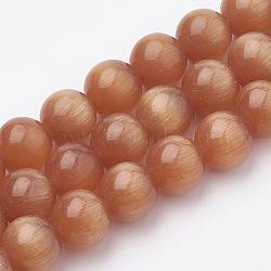 """Chapelets de perles d'œil de chat, rond, orange rouge , 8mm, trou: 1.2mm; environ 50 pcs/chapelet, 15.5""""(X-CE-M011-8mm-01)"""