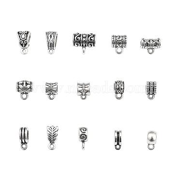 Tibetan Style Alloy Hanger Links, Bail Bead, Lead Free, Mixed Shapes, Antique Silver, 120pcs/set(PALLOY-YW0001-12-LF)